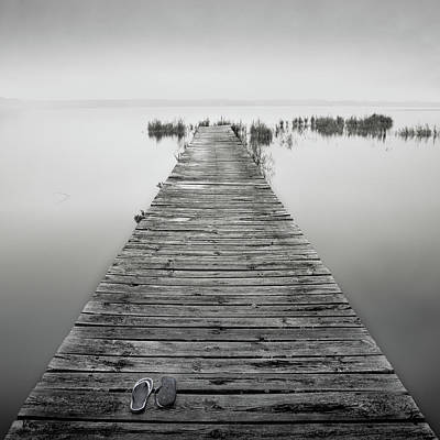 No People Photograph - Mono Jetty With Sandals by Billy Currie Photography
