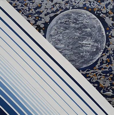 20x20 Painting - Monochromatic Moon by Alexandra Romano