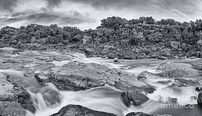 Monochrome Panorama Of Pedernales Falls State Park - Texas Hill Country Print by Silvio Ligutti