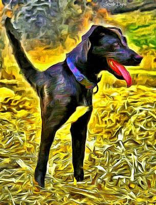 Labrador Retriever Digital Art - Monodog - Da by Leonardo Digenio