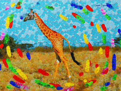 Africa Painting - Monogiraffe Colorful - Pa by Leonardo Digenio