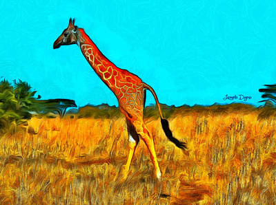 African Painting - Monogiraffe - Pa by Leonardo Digenio