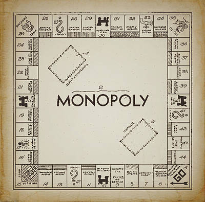 Monopoly Board Patent Vintage Print by Terry DeLuco