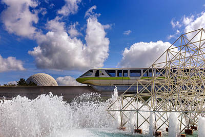 Monorail And Spaceship Earth Print by Chris Bordeleau
