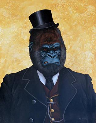 Gorilla Painting - Monsieur Silverback  by Matt Ebisch