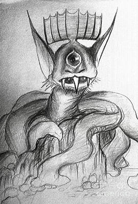 Cyclops Drawing - Monster Cyclop From Planet Of Monsters by Sofia Metal Queen