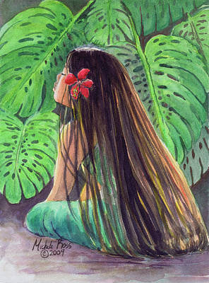 Hula Girl Art Painting - Monsterra Morning by Michele Ross
