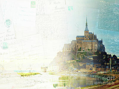 Cathedral Rock Mixed Media - Mont St Michel Postcard by Anastasy Yarmolovich