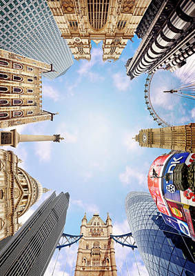 London Photograph - Montage Picture Of London Landmarks, View From Below (digital Composite) by Caroline Purser