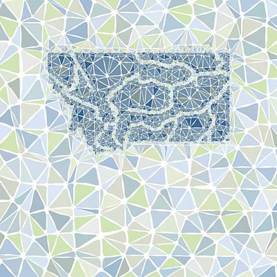 Montana State Map Geometric Abstract Pattern Print by Hieu Tran