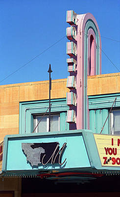 Miles City Montana - Theater Marquee Print by Frank Romeo