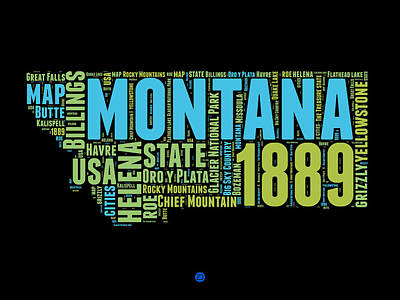 4th Of July Mixed Media - Montana Word Cloud 1 by Naxart Studio