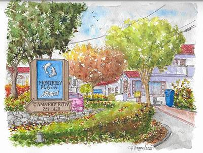 Garden Scene Painting - Monterey Plaza Shops In Cannery Row, Monterey, California by Carlos G Groppa