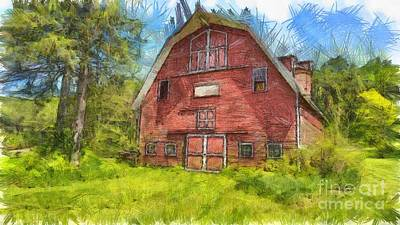 Montford Farm Red Barn Pencil Print by Edward Fielding