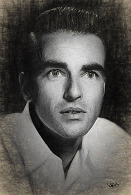 Montgomery Clift Draw Print by Quim Abella