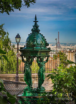 Streetlight Photograph - Montmartre Wallace Fountain by Inge Johnsson