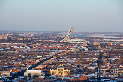 Quebec Houses Photograph - Montreal Cityscape With Olympic Stadium by Jane Rix