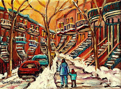 Montreal Winterscenes Painting - Montreal Citystreet In Winter by Carole Spandau