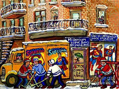 Montreal Comic Book Shop Librarie Millenium Hockey Art Superman Comics Winter Snow Scene Painting Original by Carole Spandau
