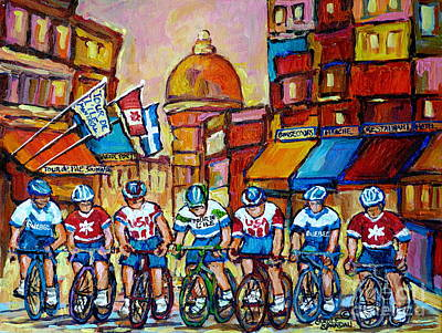 Store Fronts Painting - Montreal Cyclists Old Montreal Bike Race Tour De L'ile Canadian Paintings Carole Spandau             by Carole Spandau