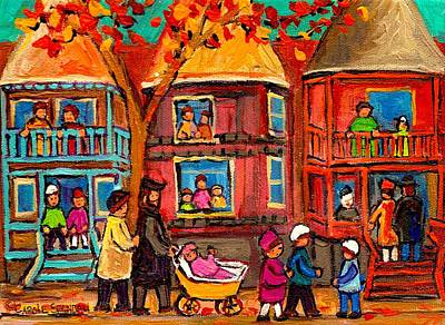 Montreal Streetlife Painting - Montreal Early Autumn by Carole Spandau