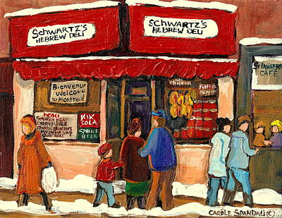 Quebec Streets Painting - Montreal Hebrew Delicatessen Schwartzs By Montreal Streetscene Artist Carole Spandau by Carole Spandau