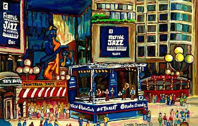 Montreal Cityscapes Painting - Montreal Jazz Festival Arcade by Carole Spandau