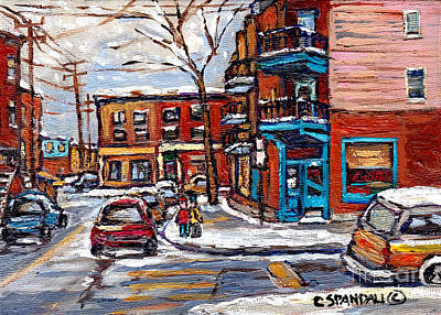 Montreal Street Life Painting - Montreal Memories Painting Rue Fairmount And Clark Wilensky Winter Scene Best Canadian Original Art  by Carole Spandau