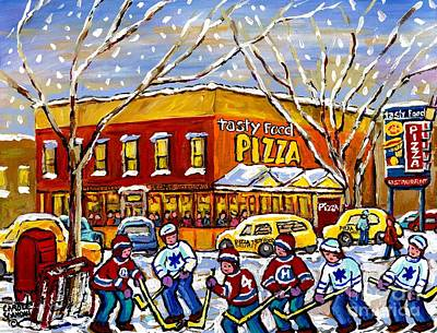 Montreal Cityscenes Painting - Montreal Memories Winter City Scene Tasty Food Pizza Parking Lot Hockey Game Canadian Art C Spandau  by Carole Spandau