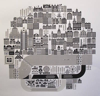 Montreal Cityscapes Drawing - Montreal On 27 April 1967 Expo '67 by Raymond Biesinger