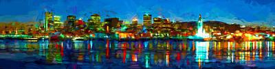 Montreal Winter Scenes Digital Art - Montreal Skyline Panorama by Theo Westlake