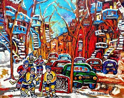 Montreal Street Hockey Painting Winding Staircases Winter Scene Canadian Art Montreal Memories  Print by Carole Spandau