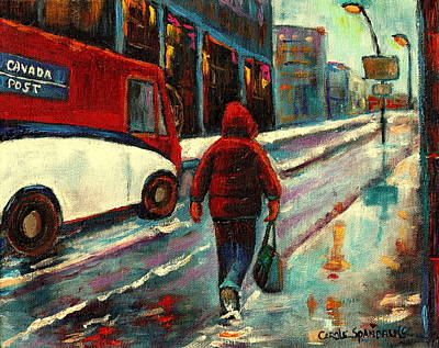 Montreal Street Life Painting - Montreal Streets Winter Morning by Carole Spandau