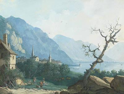 Montreux Von Nordwesten Print by Louis Albert Guislain Bacler d'Albe