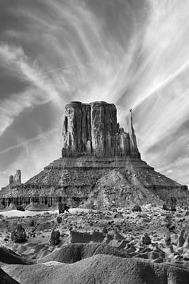 Sage Brush Photograph - Monument Valley - Left Mitten 2bw by Mike McGlothlen