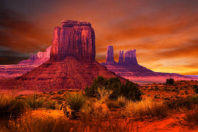 Colorful Photograph - Monument Valley Sunset by Harry Spitz