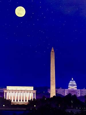 Washington Monument Painting - Monuments At Night by Christopher Bashista