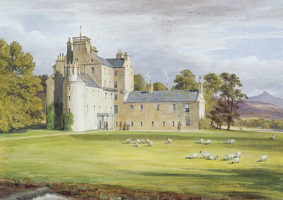 Rural Scenes Drawing - Monymusk House by James Giles