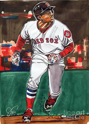 Fenway Park Drawing - Mookie Betts by Dave Olsen