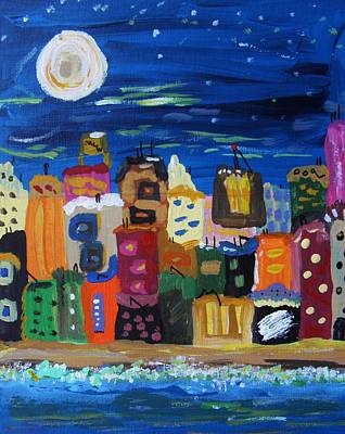Moon And Sea Waves Original by Mary Carol Williams