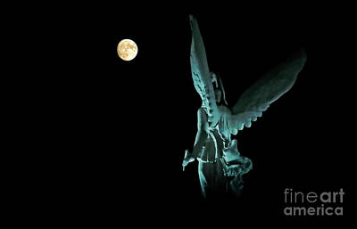Super Moon And Winged Goddess Of Victory Print by Charline Xia