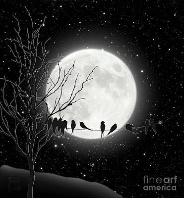 Bird On A Wire Drawing - Moon Bath, Birds On A Wire Gather By A Harvest Moon by Tina Lavoie