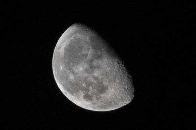 Moon Craters In Cosmic Waning Gibbous Lunar Phase Print by Aaron Sheinbein
