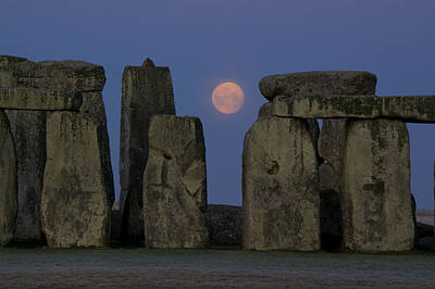 Megalith Photograph - Moon Descends Between Stones Of Stonehenge by Charles Bowman
