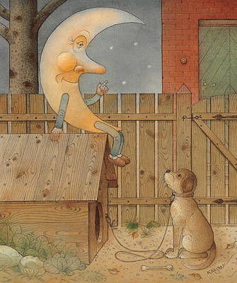 Night Drawing - Moon by Kestutis Kasparavicius