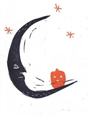 Moon Man And Jack-o-lantern Original by Coralette Damme