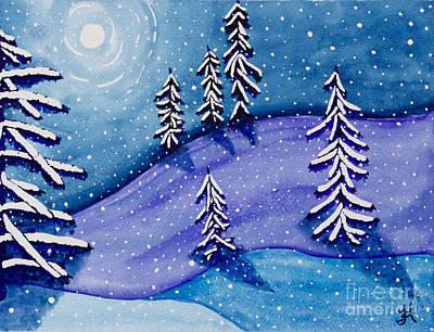 Christmas Painting - Moon On Snow II by Tonya Hudson