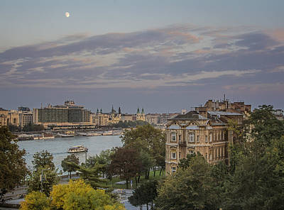 Budapest Attractions Photograph - Moon Over Budapest by Joan Carroll