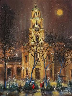 Moon Over Cathedral Square Print by Tom Shropshire