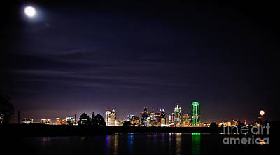 Moon Over Dallas Print by Charles Dobbs